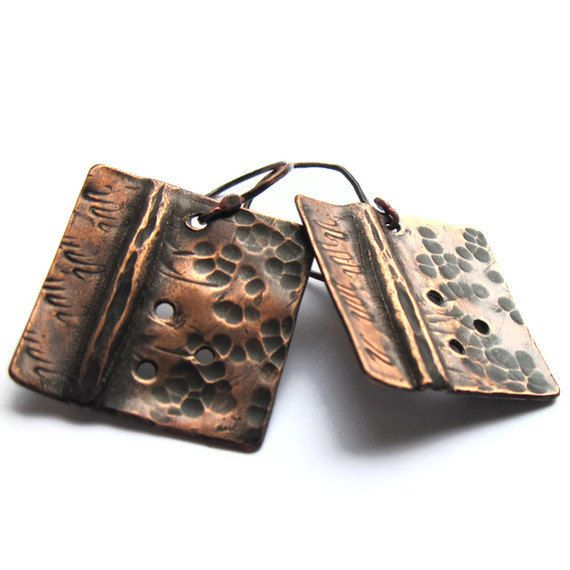 Hammered Copper Earrings Square Fold Form by gimmethatthing, £17.00