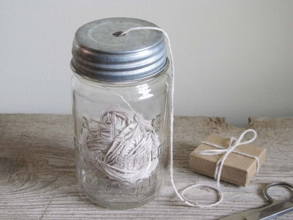 Vintage Mason Jar String Dispenser by cattales on Etsy
