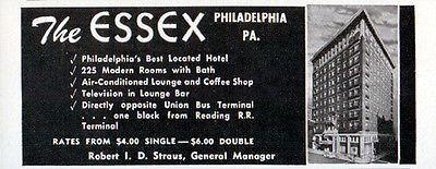 Essex Hotel Philadelphia PA Modern Rooms w Bath Bus RR 1956 Travel Tourism AD