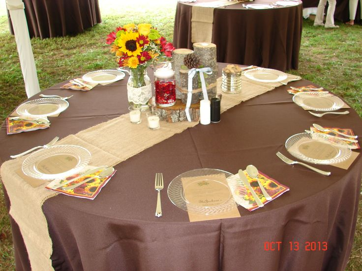 Brown Tablecloths For A Fall Wedding