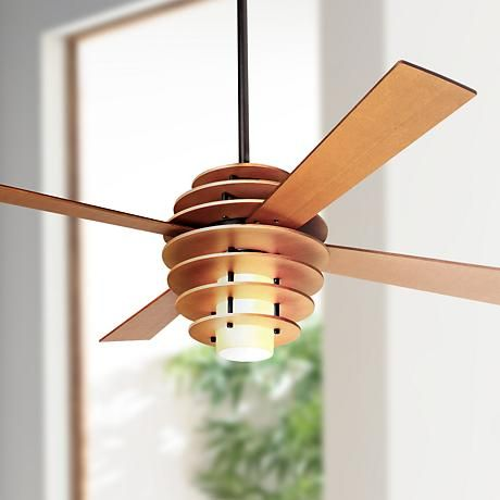 """42"""" Modern Fan Stella Maple-Bronze Ceiling Fan with Light  Love this design and the higher wood color.  Not a huge fan of the halogen bulb, but 75W is a good brightness.  If you like the style, I can ask my rep to find something similar with different bulb (and perhaps a lower drop from the ceiling).  Also comes in a larger size  (52"""" span)."""