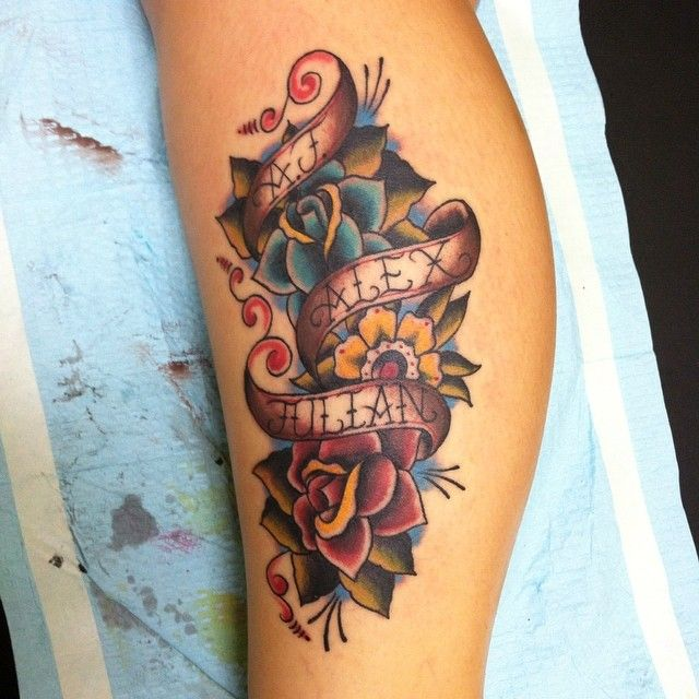 American Traditional Kids Names Tattoo