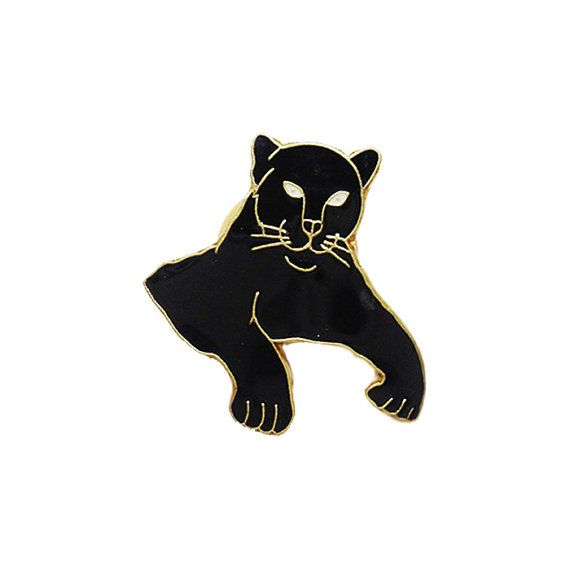 "Black Panther 1"" Lapel Pin Old School Tattoo Flash Enamel Pin Gold Plated Cat Meow Kitty"