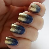 I feel like I dipped my nails in gold powder! - Imgur Love the navy and gold glitter combo