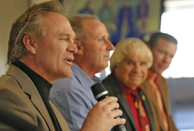 Former OU star Brian Bosworth, left, will be inducted Monday into the Oklahoma Sports Hall of Fame. [Photo By Steve Gooch, The Oklahoman archives]