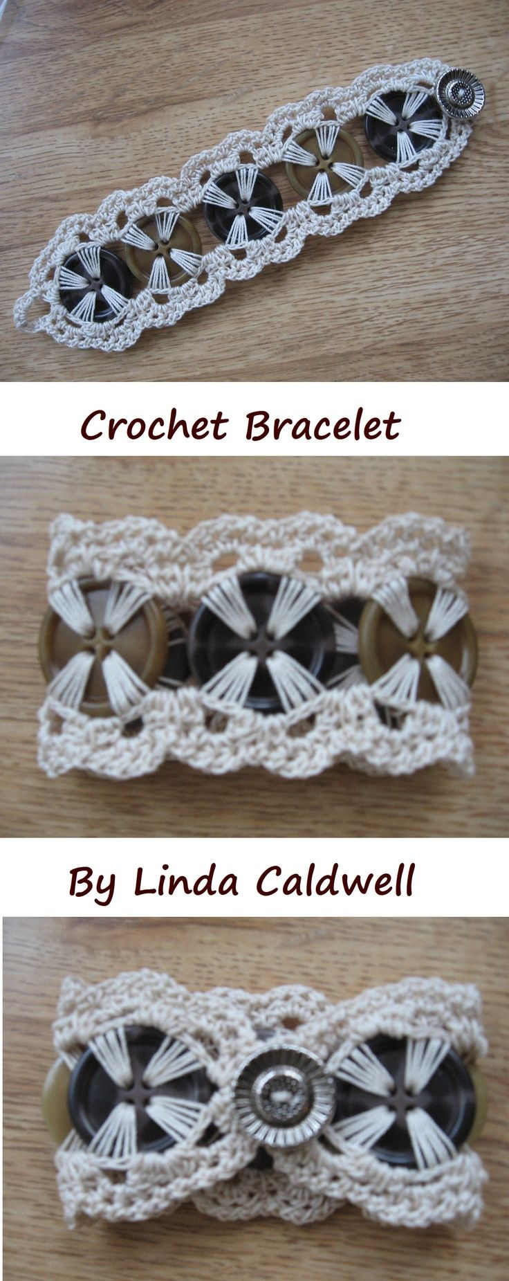 Linda Caldwell Crochet Button Bracelet - Google Search