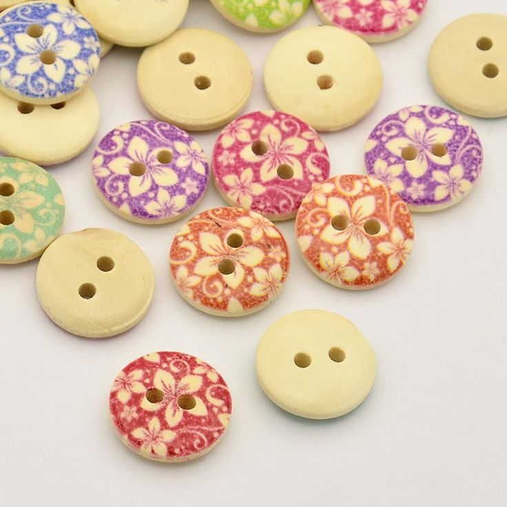 Flat Round with Plum Blossom Dyed 2-Hole Printed Wooden Buttons,