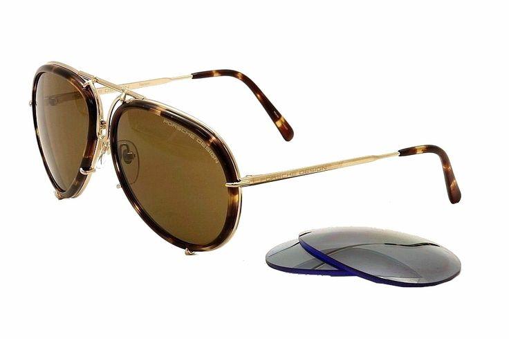 Porsche Design P'8613 P8613 B Gold Aviator Sunglasses 61mm w/ Extra Lenses. P8613.