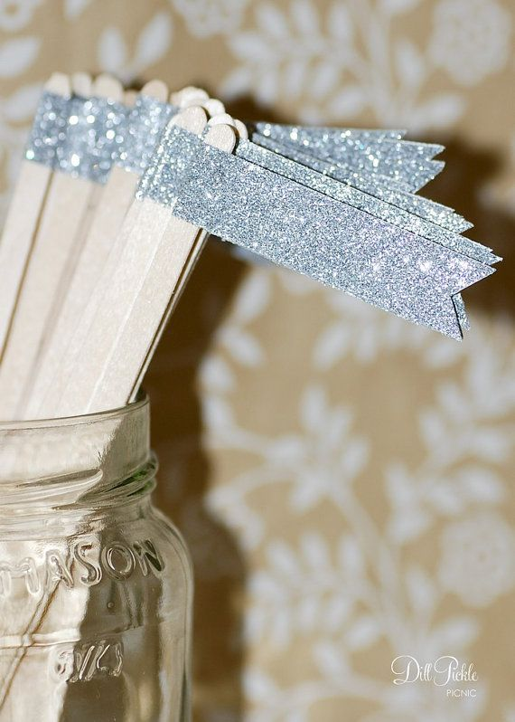 25  Silver Glitter Paper Flag Stir Sticks or by dillpicklepicnic, $9.00