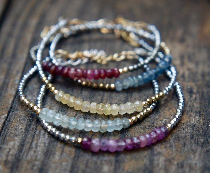 Sapphire Stacking Bracelets: Handmade