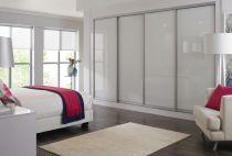 white glass sliding door with matt silver frame