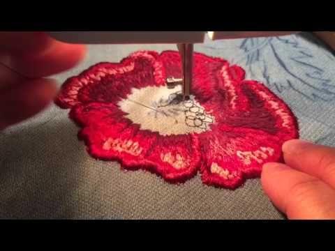 Машинная вышивка. Вышивка гладью цветка мак. 1 часть. Sticken mit der…