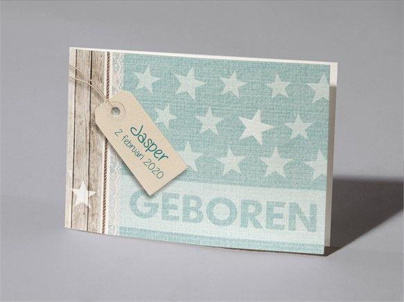 Geboortekaartje, sterren, groen, steigerhout, jeans