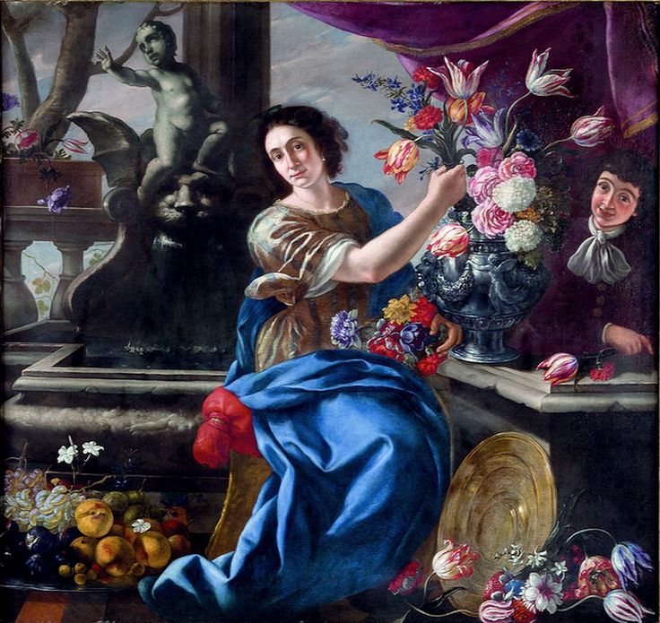 Giuseppe Recco (1634-1695)  —  Female Figure and Pageboy with Still Life of Flowers  and Fruit, 1686    (900x850)