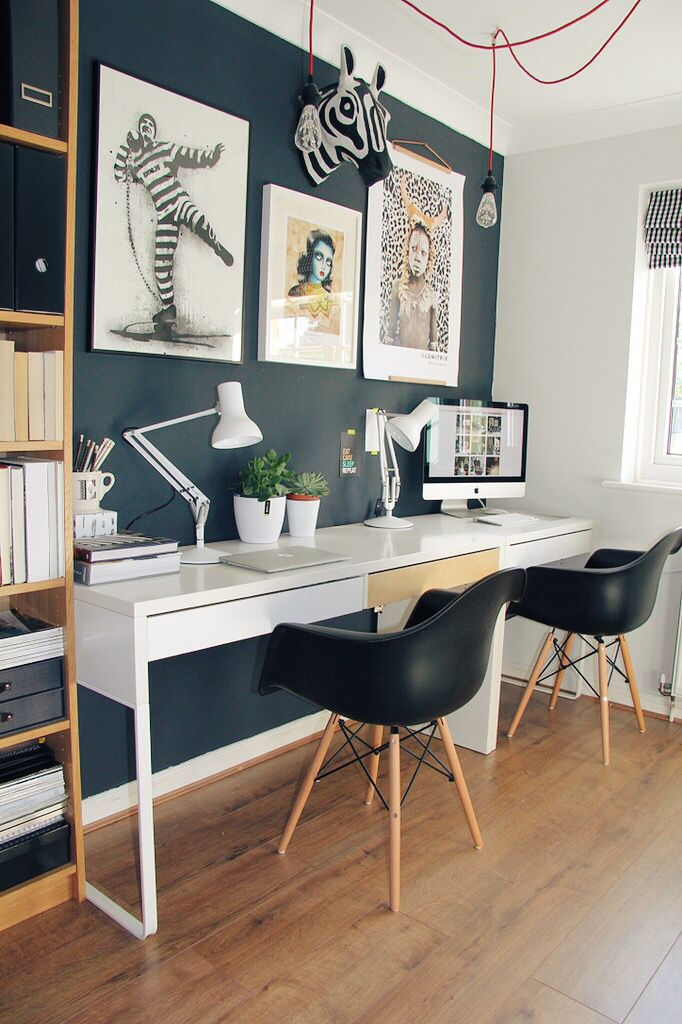 Stylish home office as seen in Homestyle Magazine April 2016 - Home office designed and executed by Jenny Kakoudakis Farrow & Ball Railings IKEA MICKE DESKS EAMES chairs Anthropologie wall decor, wall art, Anglepoise Mini Type 75 Alpine, black and white office, Abigail Ahern                                                                                                                                                                                 More