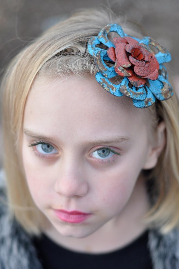 Industrial headband with metal flower
