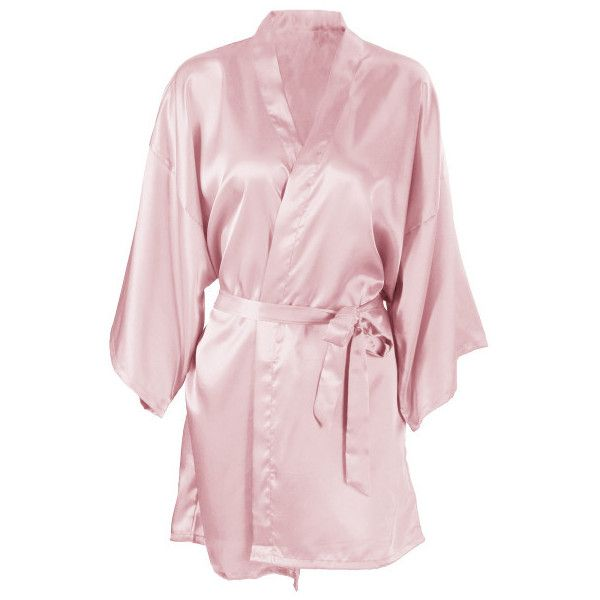 Women's Short Kimono Robe Simplicity Women's Silk Satin Bathrobe... ($12) ❤ liked on Polyvore featuring intimates, robes, flesh pink, lounge & sleepwear, silk satin robe, kimono bath robe, pink robe, pink bathrobe and kimono bathrobe