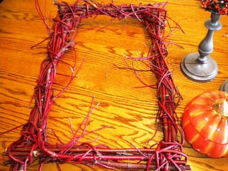 rectangle wreath woven from red osier dogwood branches