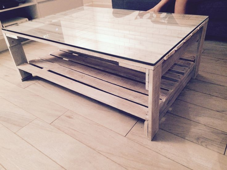 White washed pallet coffee table with glass
