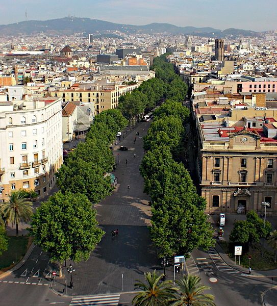 La Ramblas in Barcelona - a tree lined street perfect for a leisurely stroll