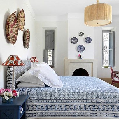 Blue and White Moroccan Bedroom
