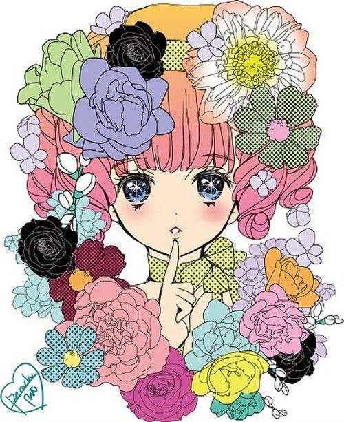 『花とハナコとレモン味/PEACH-PIT』  目に入った瞬間に可愛い!と思ってもらえるような、同時に『漫画』を感じてもらえる作品になればと思いデザインしてみました。 少女漫画とロマンスはじけるレトロポップがテーマです。ずっとずっと甘酸っぱい夢を見てる女の子。お花畑のハナコさんです。  【PEACH-PIT】 えばら渋子、千道万里による創作ユニット。