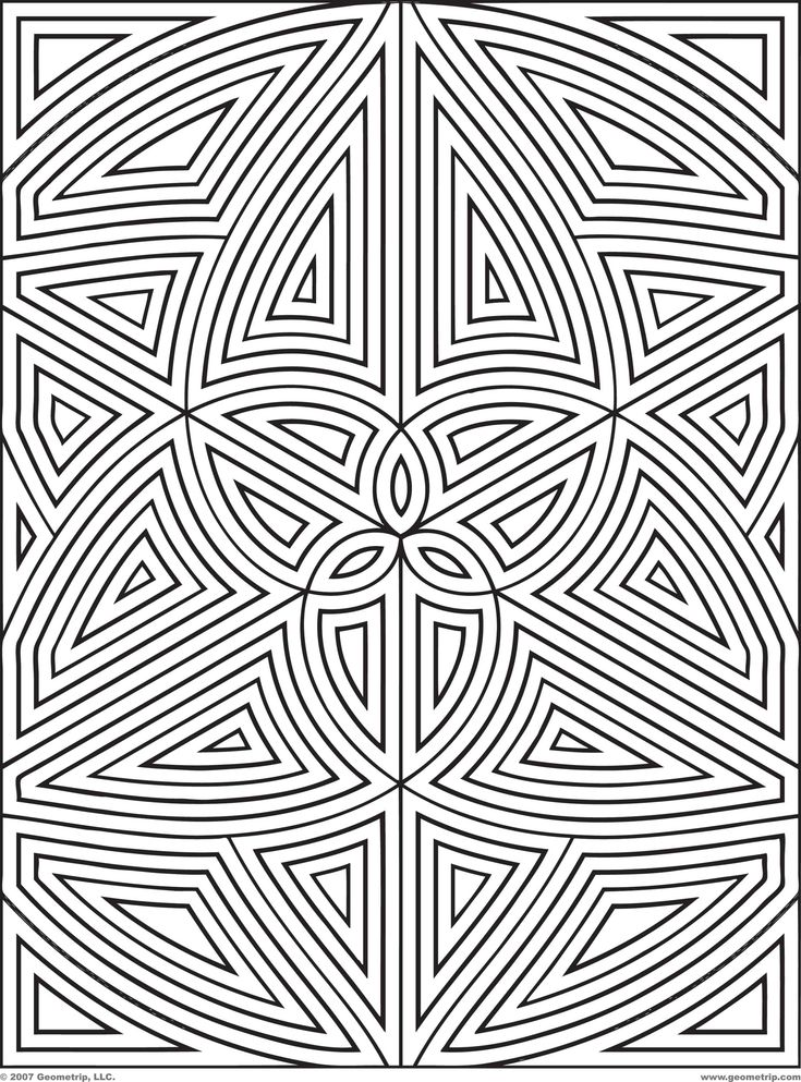 Difficult Geometric Design Coloring Pages | Rectangles: Page 1 of 2