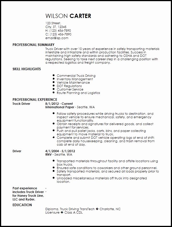 Truck Driver Resume Examples Lovely Free Contemporary Truck Driver Resume Templates In 2020 Truck Driver Resume Examples Resume