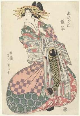 Courtisane uit het Ebiya huis, Kikugawa Eizan, Iwatoya Kisaburo, in of na 1811 - in of voor 1814 - japan-Verzameld werk van Linda scheppink - Alle Rijksstudio's - Rijksstudio - Rijksmuseum