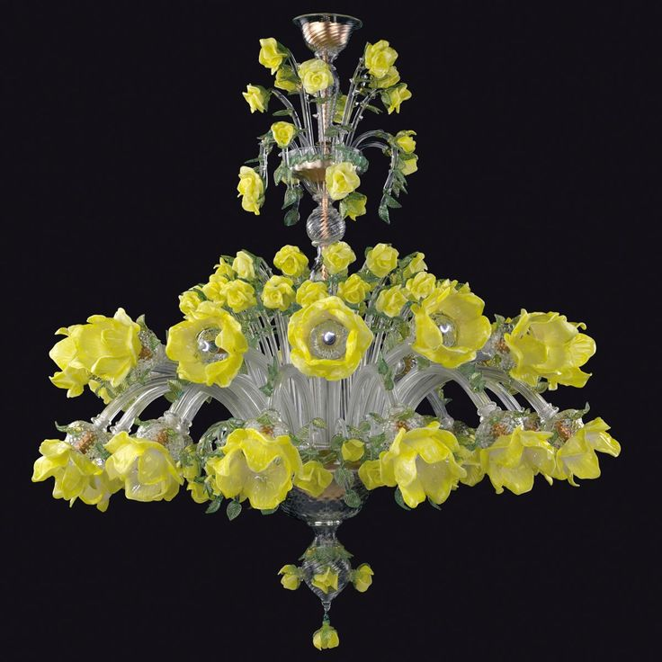 """Rose gialle"" Murano glass chandelier - 12+12 lights"