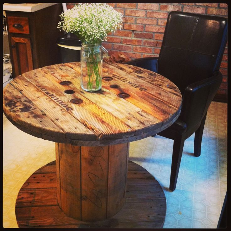 Wire spool table left in mostly natural conditions for Large wooden spools used for tables
