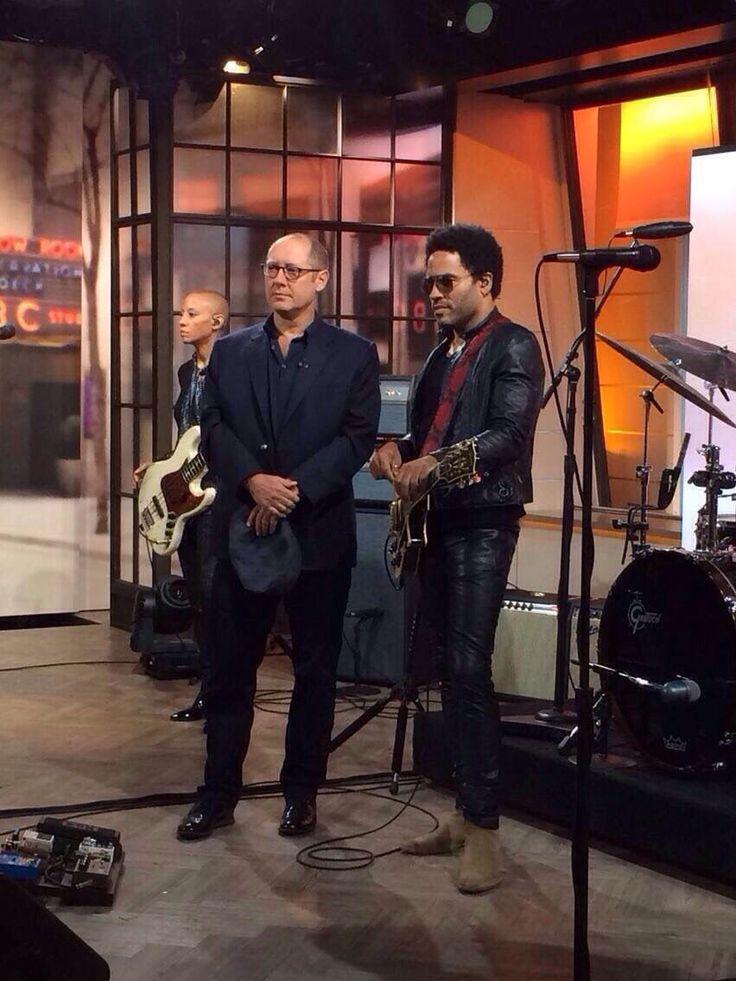 #JamesSpader & musician #LennyKravitz await their cues on the set of #TheTodayShow 9/22/14. #Spader