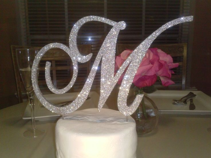 monogram wedding cake topper  6 inch silver glitter  bling cake toppers  vintage style wedding