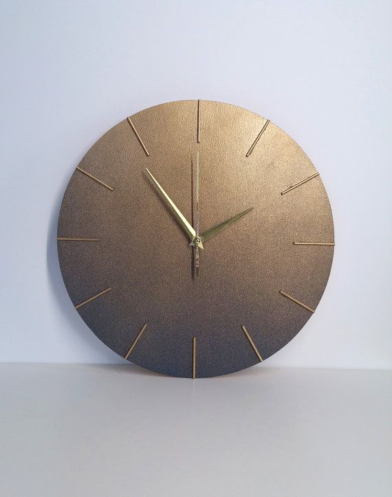 unique modern wall clock golden blue color by