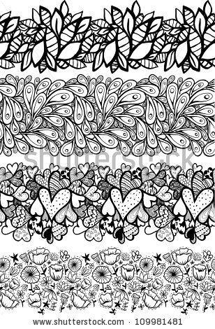 Doodle decorative seamless lines set.