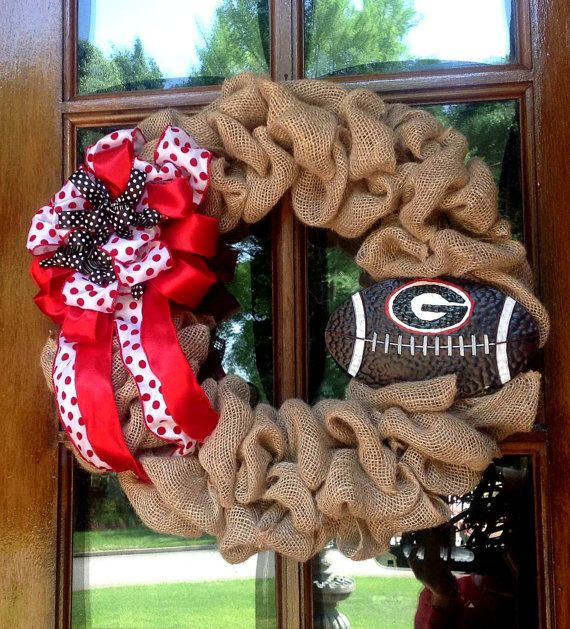 Burlap Wreath, UGA Football wreath, College football wreath, Go Dawgs on Etsy, $47.00