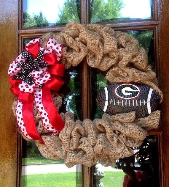 Burlap Wreath, UGA Football wreath, College football wreath, Go Dawgs on Etsy, $47.00