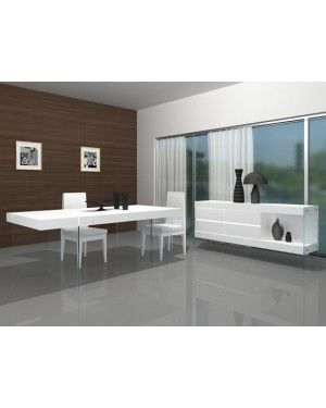 Modern Dining Room Sets : JNM  CLOUD White Modern Floating Dining Room