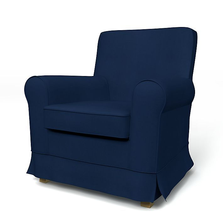 Jennylund, Armchair cover with piping Panama Cotton Deep Navy Blue