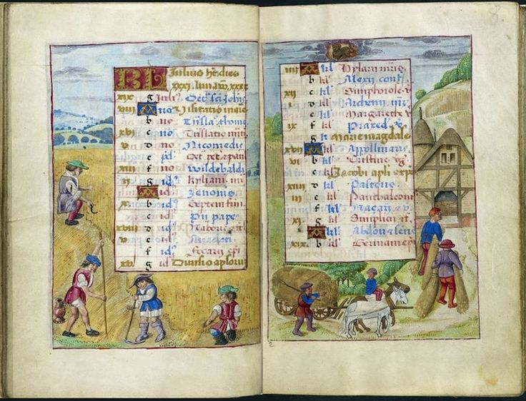 Calendar pages for July, from the Hours of Joanna of Castile, Netherlands (Bruges), between 1496 and 1506, Additional 18852, ff. 7v-8 - See more at: http://britishlibrary.typepad.co.uk/digitisedmanuscripts/2012/07/a-calendar-page-for-july-2012.html#sthash.k9UHyvOD.dpuf