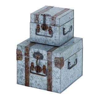 Galvanized 2-piece Metal Box Set | Overstock™ Shopping - Great Deals on Accent Pieces