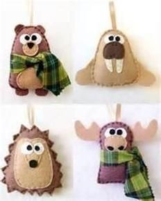 Christmas felt crafts - bear, walrus, hedgehog, moose in woodland colors