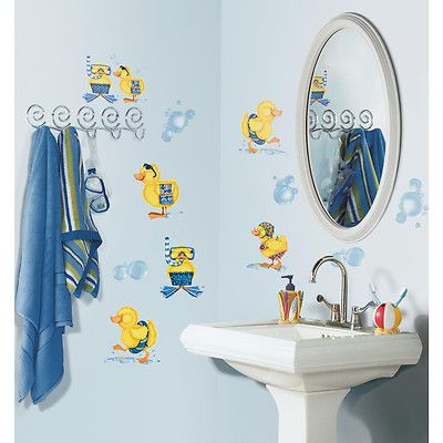 DUCKS Bubble Bath Wall Stickers 29 Decals Rubber Duckies Bathroom Decor