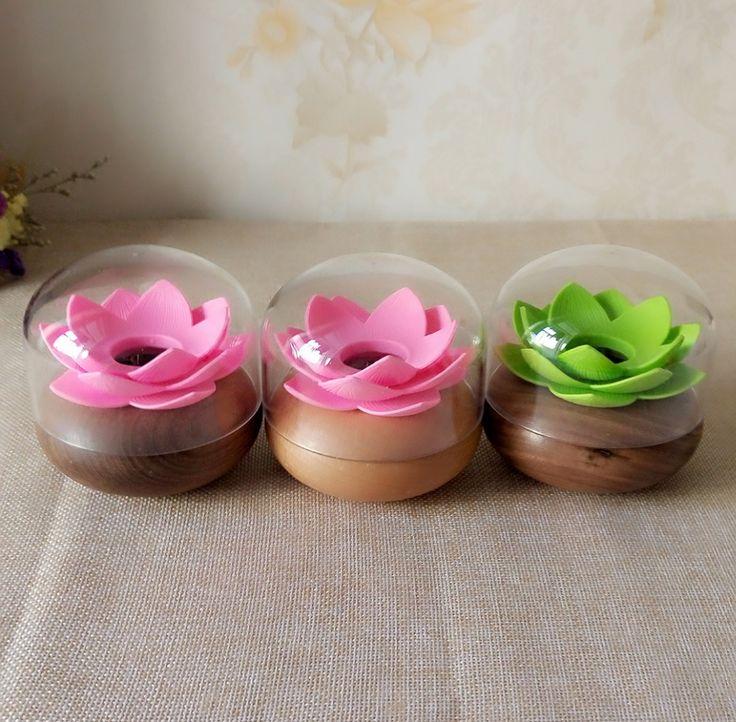 Cotton Swab Box Holder Creative Lotus Toothpick Holder Wood Organizer Storage Small Box Cotton Swab Holder Home Table Decoration