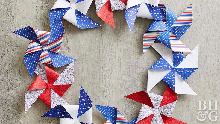 Follow our easy instructions to make a pretty paper pinwheel for the Fourth of July! Or use glue to attach an assortment of pinwheels to an embroidery hoop for a pretty Fourth of July decoration. #diy #fourthofjuly #4thofjuly #pinwheel
