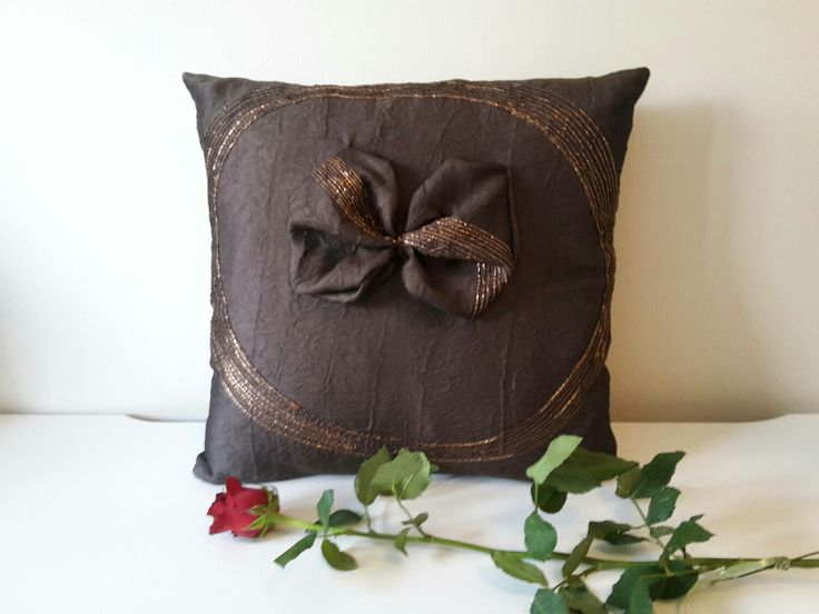 """Excited to share the latest addition to my #etsy shop: Brown Cushion Cover, Chocolate Decorative Pillow, 18x18"""" Cushion, Shinny Pillow, Cushion with Bow, Throw Pillow, Elegant Pillow Case #pillow #brown #gold #housewarming http://etsy.me/2mA9MO5"""
