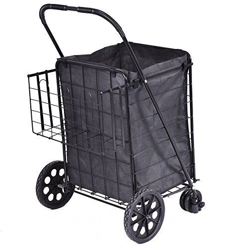 1 PC Folding Shopping Cart Jumbo Swivel Wheels Extra Basket Trolley Grocery Laundry Ship from USA ** Read more  at the image link.