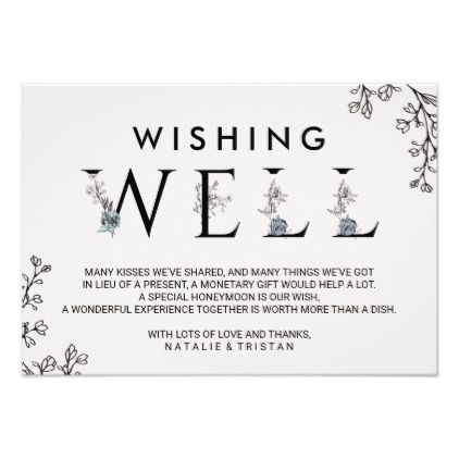 Floral Typography Wedding Wishing Well Card - romantic wedding love couple marriage wedding preparations