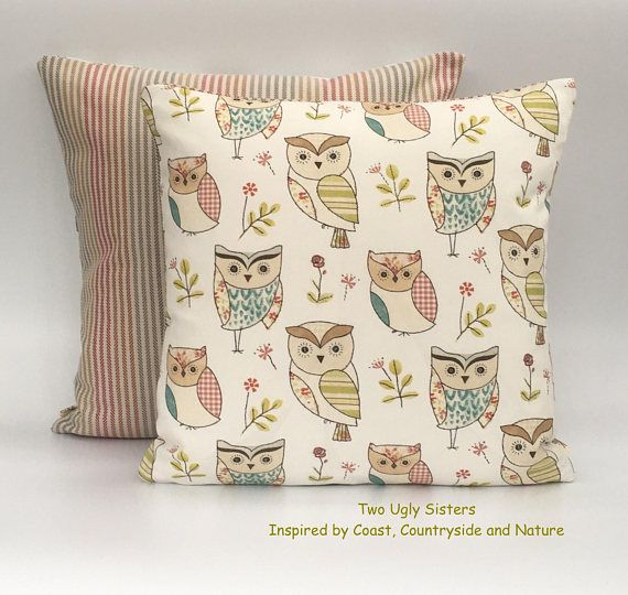Owl Cushion Cover Owl Pillow Child's Cushion Cover