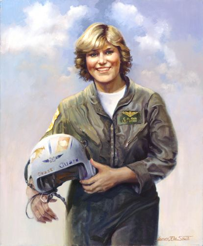 """{    REMEMBERING LT COLLEEN CAIN 30 YEARS LATER    }  #CoastGuardCompass ... """"A portrait of a Coast Guard heroine - the first female Coast Guard aviator killed in the line of duty. Lt. Colleen Cain's helicopter crashed during a rescue mission off Hawaii, 1982.  U.S. Coast Guard portrait by Leonora Rae Smith."""".... http://coastguard.dodlive.mil/2012/01/remembering-lt-colleen-cain-30-years-later/"""